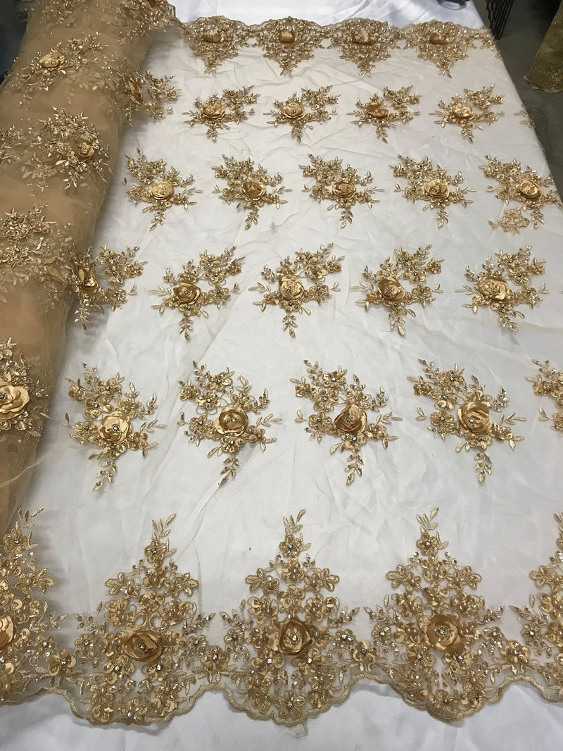 Beautiful - Gold Champagne Embroidered 3D Flower Fabric with Pearls and Rhinestones  Sold by The Yard