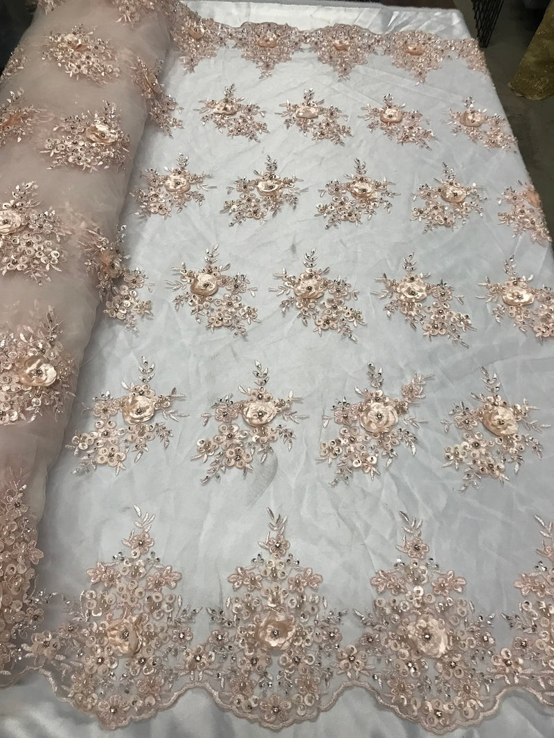 Beautiful - Blush - Embroidered 3D Flower Fabric with Pearls and Rhinestones  Sold by The Yard