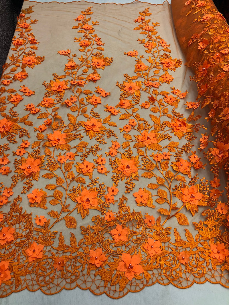 Orange 3D Floral Design Embroider With Pearls On A Mesh Lace Dresses-Prom-Nightgown By Yard