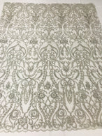 Glam Damask Beaded Fabric - Silver - Embroidered Elegant Fashion Fabric with Beads on Mesh