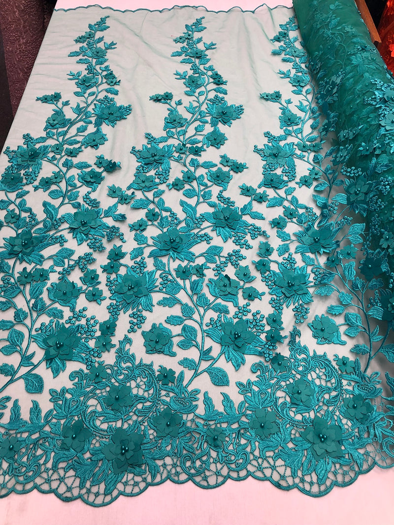 Teal 3D Floral Design Embroider With Pearls On A Mesh Lace Dresses-Prom-Nightgown By Yard