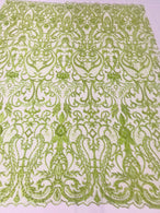 Glam Damask Beaded Fabric - Kiwi Green - Embroidered Elegant Fashion Fabric with Beads on Mesh