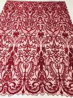 Glam Damask Beaded Fabric - Burgundy - Embroidered Elegant Fashion Fabric with Beads on Mesh