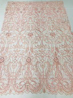 Glam Damask Beaded Fabric - Blush Pink - Embroidered Elegant Fashion Fabric with Beads on Mesh