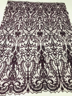Glam Damask Beaded Fabric - Plum - Embroidered Elegant Fashion Fabric with Beads on Mesh