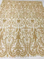 Glam Damask Beaded Fabric - Honey Gold - Embroidered Elegant Fashion Fabric with Beads on Mesh