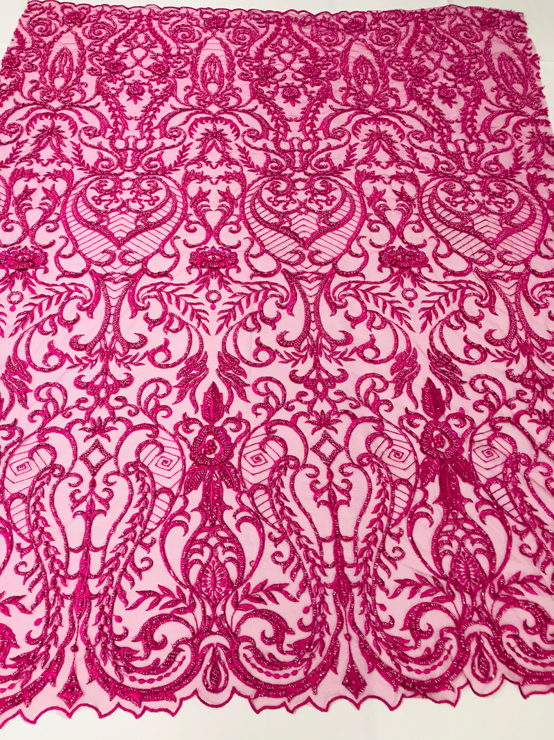 Glam Damask Beaded Fabric - Fuschia - Embroidered Elegant Fashion Fabric with Beads on Mesh