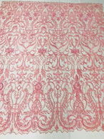 Glam Damask Beaded Fabric - Dusty Rose - Embroidered Elegant Fashion Fabric with Beads on Mesh