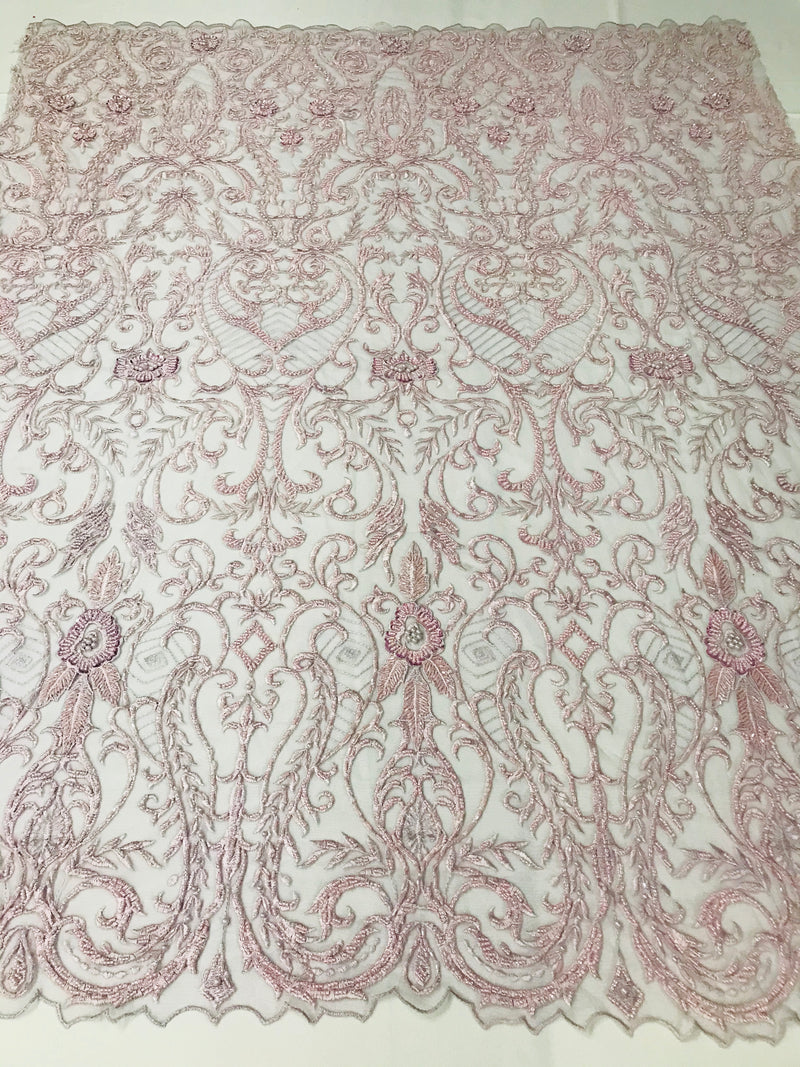 Glam Damask Beaded Fabric - Light Lilac - Embroidered Elegant Fashion Fabric with Beads on Mesh