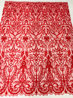 Glam Damask Beaded Fabric - Red - Embroidered Elegant Fashion Fabric with Beads on Mesh