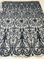 Glam Damask Beaded Fabric - Navy Blue - Embroidered Elegant Fashion Fabric with Beads on Mesh