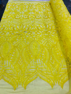 Luxury Feather Sequins - Yellow - 4 Way Stretch Glamorous Fringe Feather Sequins Fabric
