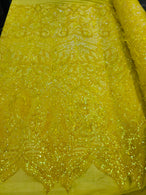 Luxury Feather Sequins - Iridescent Yellow - 4 Way Stretch Glamorous Fringe Feather Sequins Fabric