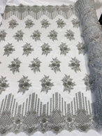 Beaded Fabric - Silver - Hand Embroidery Lace Bridal Floral Mesh Dress Fabric By Yard