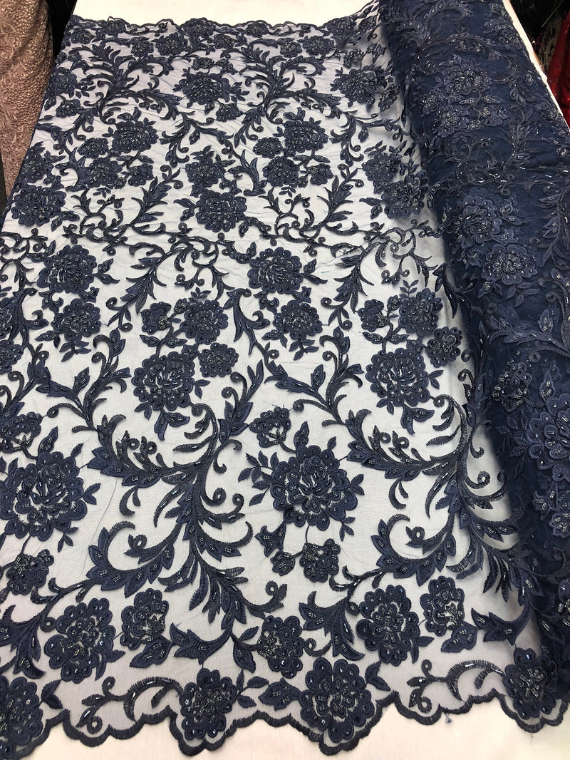 Beaded Floral - NAVY BLUE - Luxury Wedding Bridal Embroidery Lace Fabric Sold By The Yard