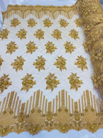 Beaded Fabric - Gold - Hand Embroidery Lace Bridal Floral Mesh Dress Fabric By Yard