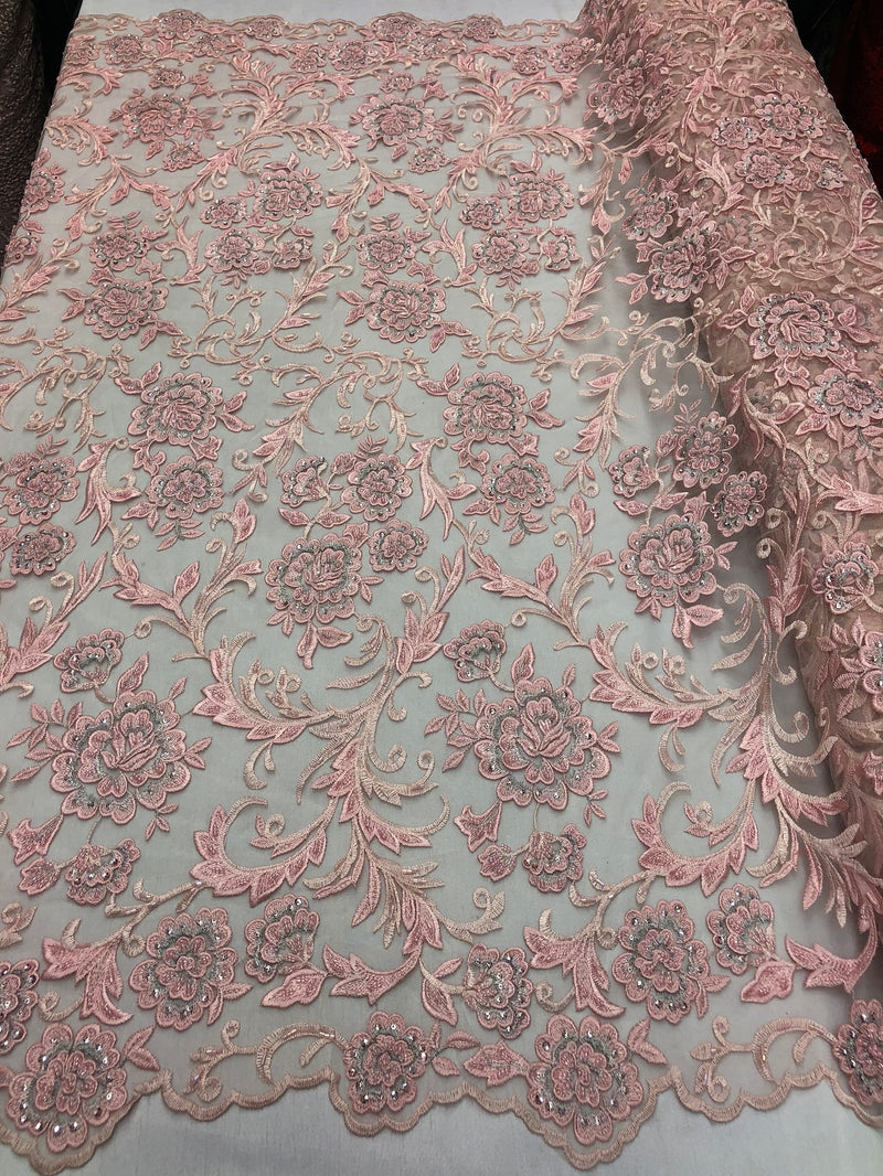 Beaded Floral - PINK - Luxury Wedding Bridal Embroidery Lace Fabric Sold By The Yard