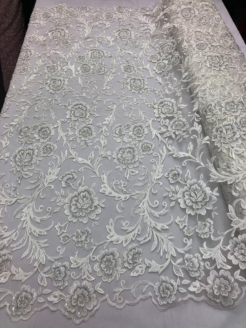 Beaded Floral - IVORY - Luxury Wedding Bridal Embroidery Lace Fabric Sold By The Yard