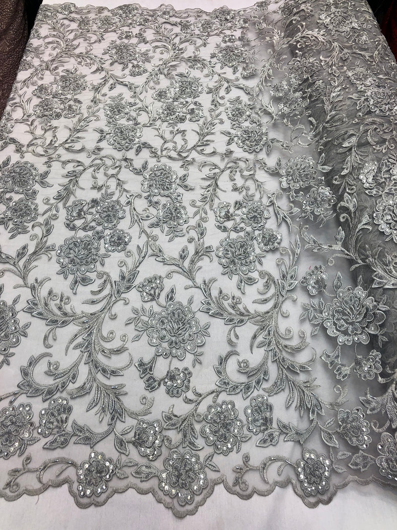 Beaded Floral - SILVER - Luxury Wedding Bridal Embroidery Lace Fabric Sold By The Yard