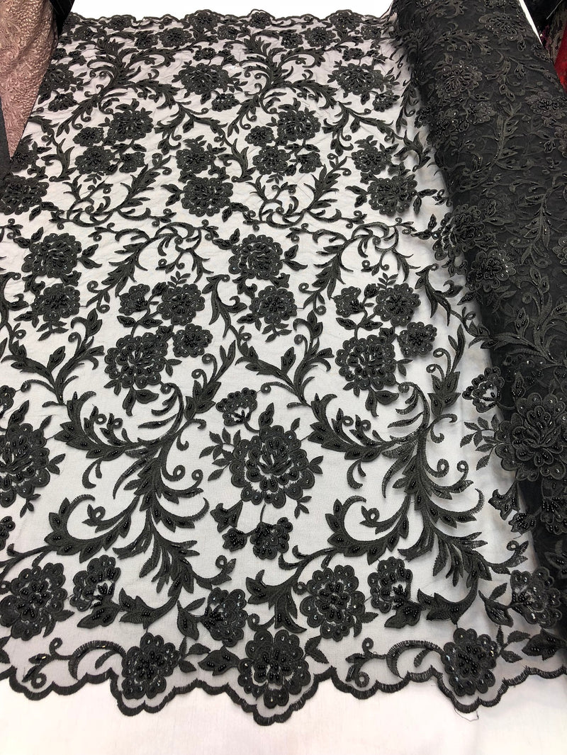 Beaded Floral - BLACK - Luxury Wedding Bridal Embroidery Lace Fabric Sold By The Yard