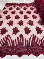 Beaded Fabric - Burgundy - Hand Embroidery Lace Bridal Floral Mesh Dress Fabric By Yard