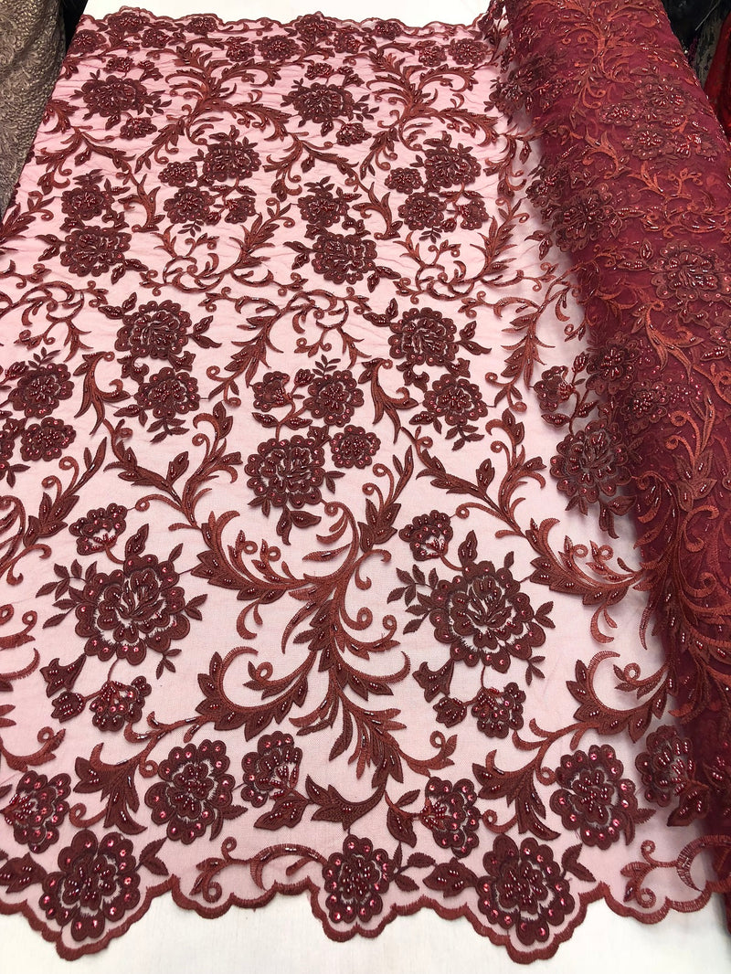 Beaded Floral - BURGUNDY - Luxury Wedding Bridal Embroidery Lace Fabric Sold By The Yard