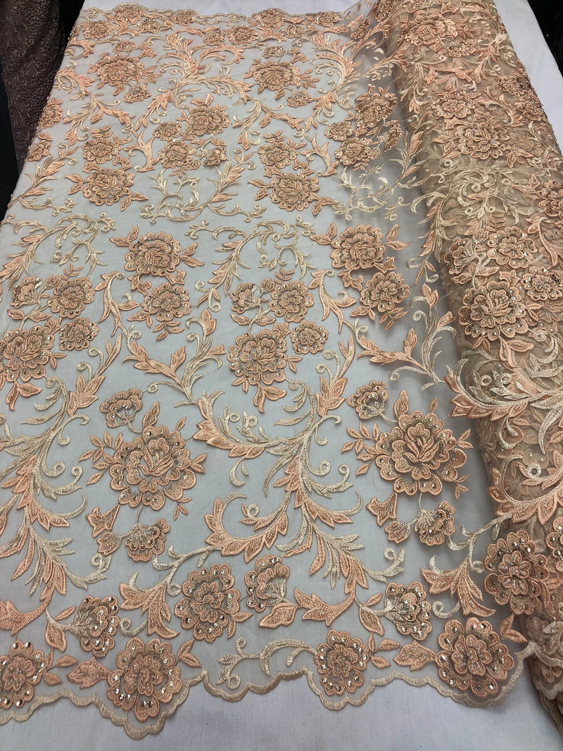 Beaded Floral - BLUSH PEACH - Luxury Wedding Bridal Embroidery Lace Fabric Sold By The Yard