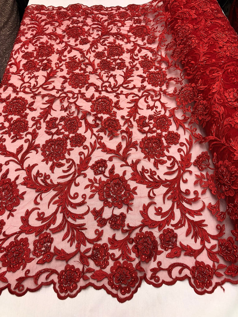 Beaded Floral - RED - Luxury Wedding Bridal Embroidery Lace Fabric Sold By The Yard