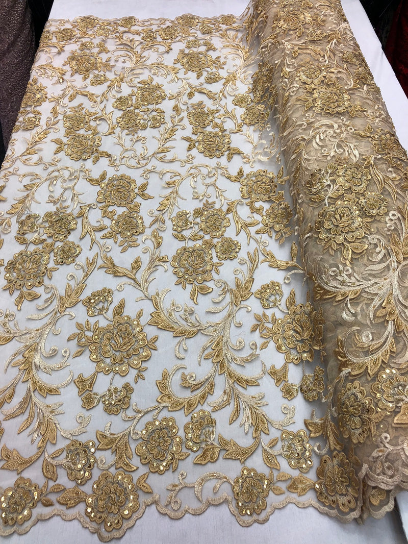 Beaded Floral - GOLD - Luxury Wedding Bridal Embroidery Lace Fabric Sold By The Yard