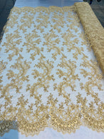 Lace Sequins Fabric - Gold - Corded Flower Embroidery Design Mesh Fabric By The Yard