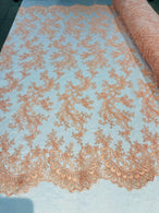 Lace Sequins Fabric - Peach - Corded Flower Embroidery Design Mesh Fabric By The Yard