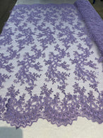 Lace Sequins Fabric - Lilac - Corded Flower Embroidery Design Mesh Fabric By The Yard