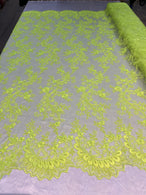 Lace Sequins Fabric - Neon Green - Corded Flower Embroidery Design Mesh Fabric By The Yard