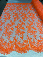 Lace Sequins Fabric - Neon Orange - Corded Flower Embroidery Design Mesh Fabric By The Yard