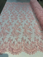Lace Sequins Fabric - Pink - Corded Flower Embroidery Design Mesh Fabric By The Yard