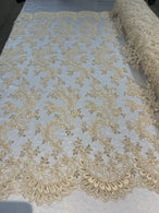 Lace Sequins Fabric - Light Beige - Corded Flower Embroidery Design Mesh Fabric By The Yard