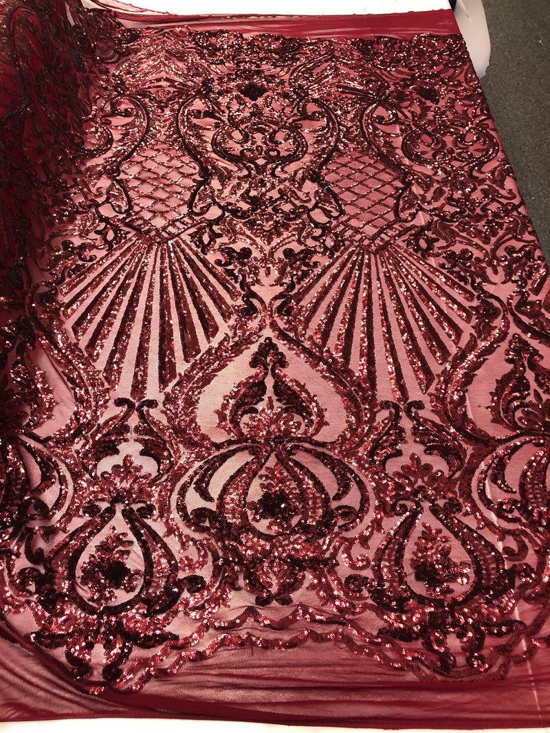 4 Way Stretch Damask Pattern Sequins Fabric Burgundy Fancy Embroidered Mesh Dress-Prom By The Yard