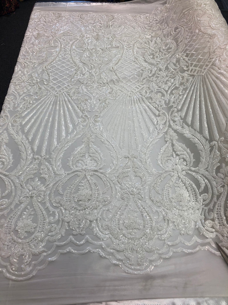 4 Way Stretch Damask Pattern Sequins Fabric White Fancy Embroidered Mesh Fashion Fabric By The Yard