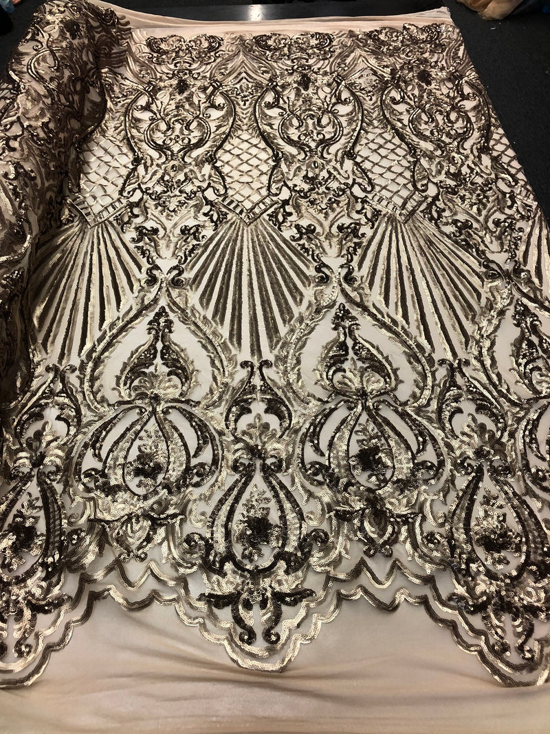 4 Way Stretch Damask Pattern Sequins Fabric Gold Fancy Embroidered Fashion-Prom-Gown By The Yard