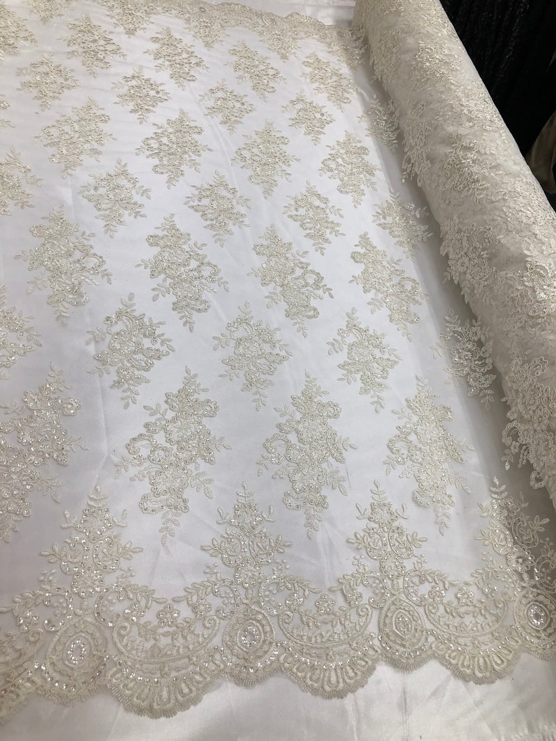 Floral Shiny Sequins Embroided Lace Fabric - Ivory  - Beautiful Fabrics Sold by The Yard