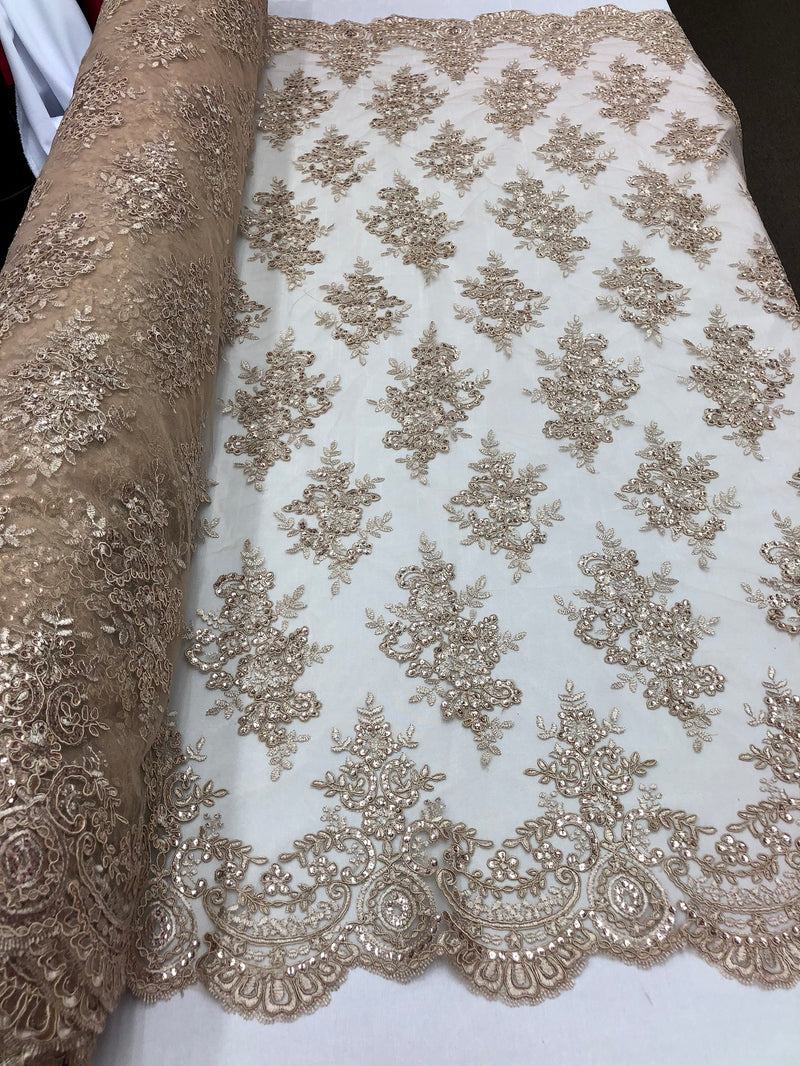 Floral Shiny Sequins Embroided Lace Fabric - Taupe - Beautiful  Fabrics Sold by The Yard
