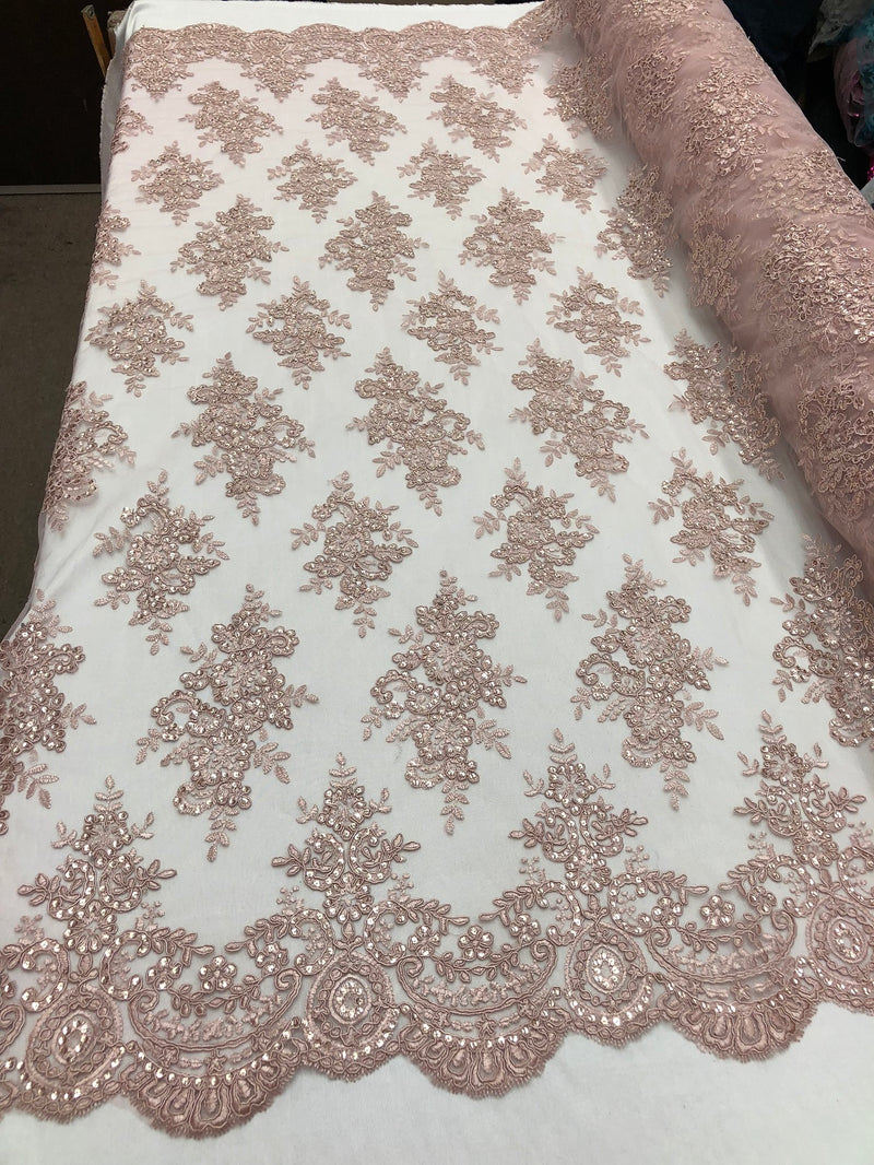 Floral Shiny Sequins Embroided Lace Fabric - Dusty Rose  - Beautiful Fabrics By The Yard