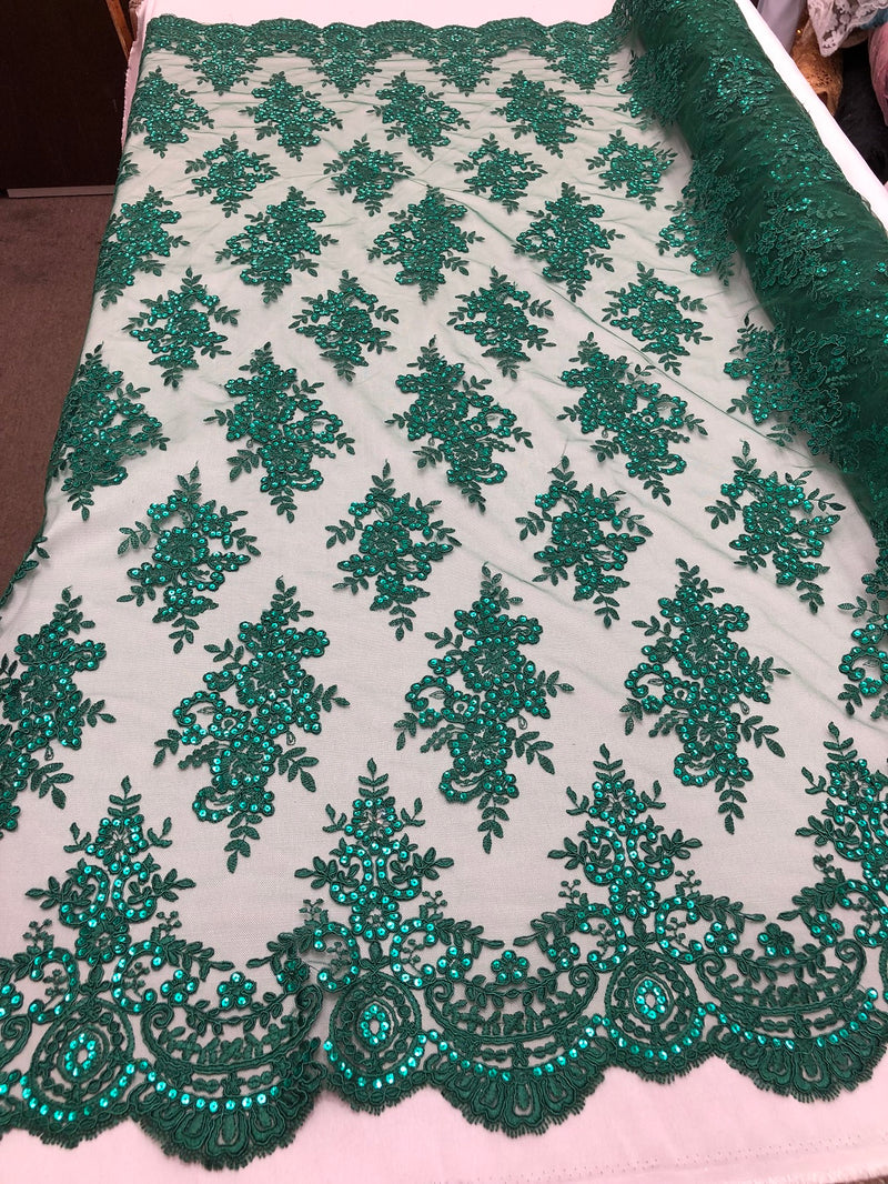 Floral Shiny Sequins Embroided Lace Fabric - Hunter Green - Beautiful Fabrics Sold by The Yard