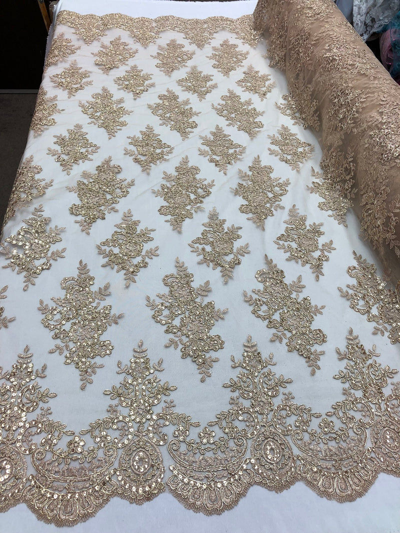 Floral Shiny Sequins Embroided Lace Fabric - Metallic Gold - Beautiful Fabrics Sold by The Yard