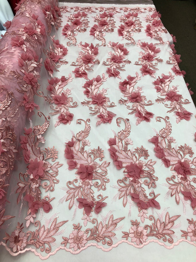 3D Embroided - Light Pink Flower And Leaf Pattern Fabric Fancy Flowers Fashion Fabric By The Yard