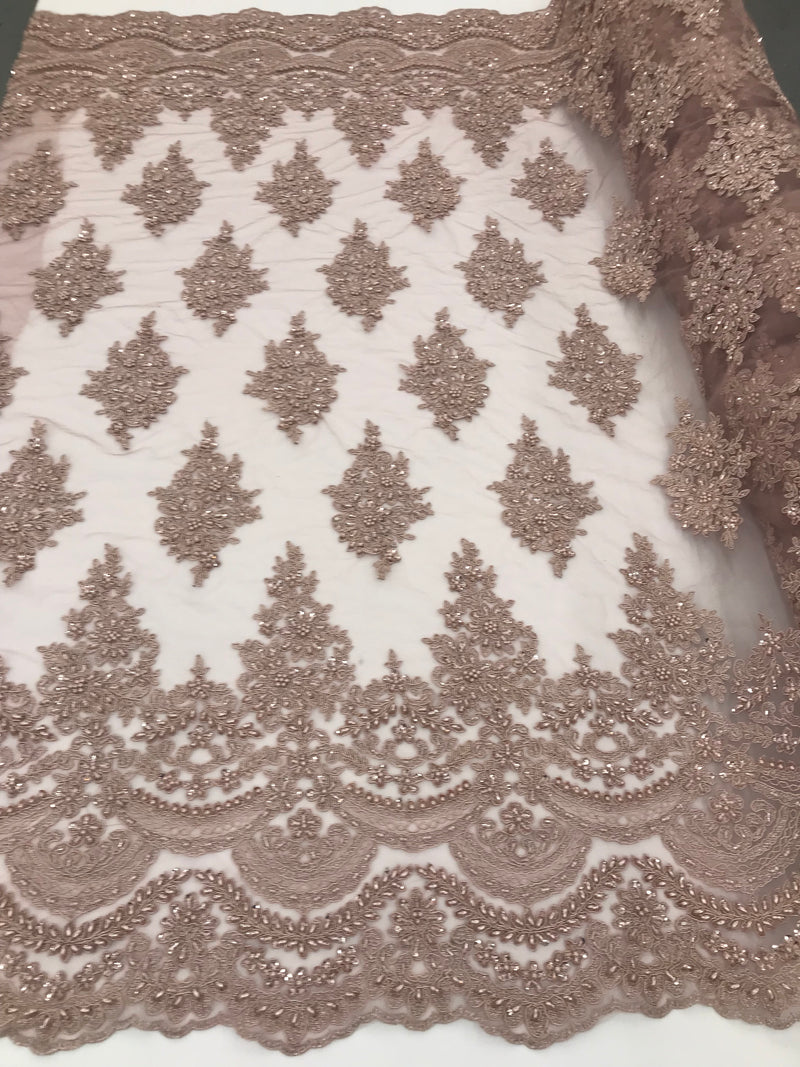 Mauve - Hand Beaded Embroidered Flower Pattern Bridal Wedding Lace Fabric Sold by The Yard