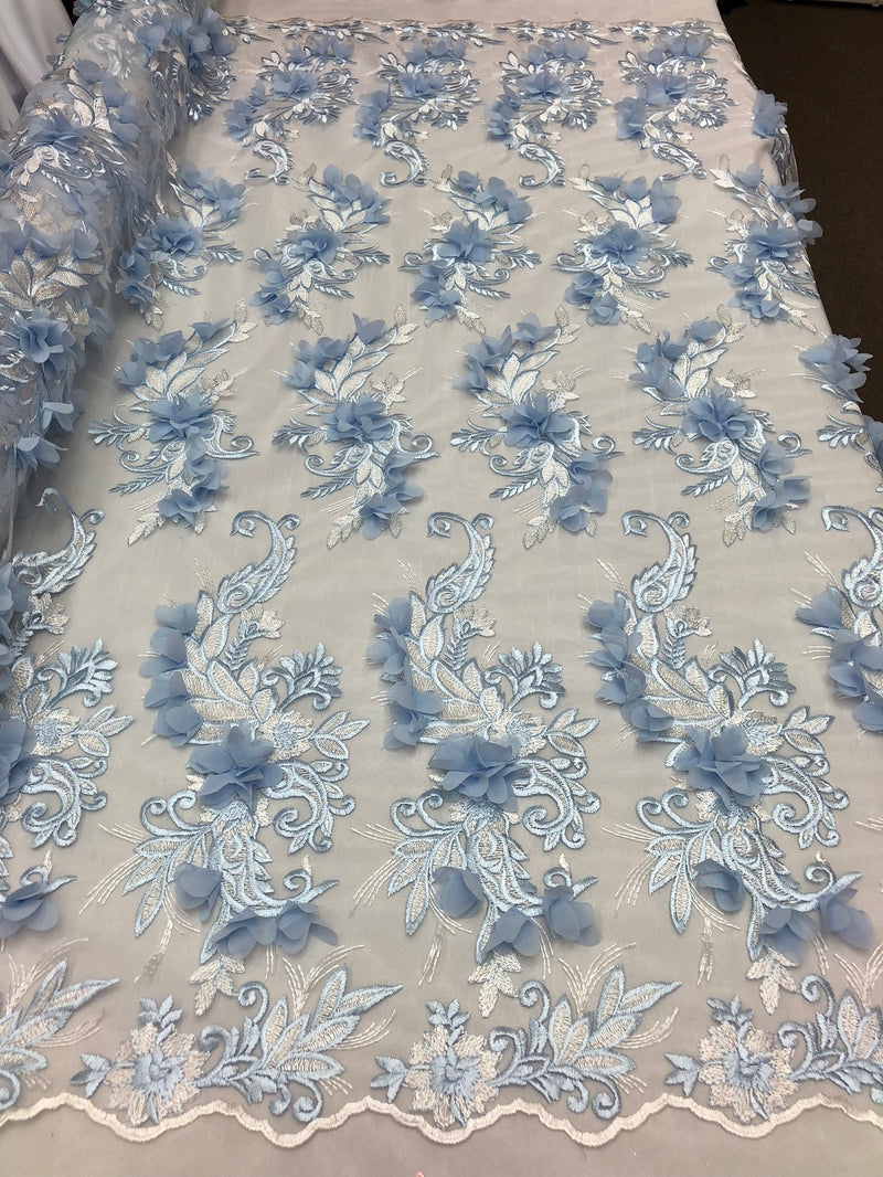 3D Embroided - Baby Blue Flower And Leaf Pattern Fabric Fancy Flowers Fashion Fabric By The Yard