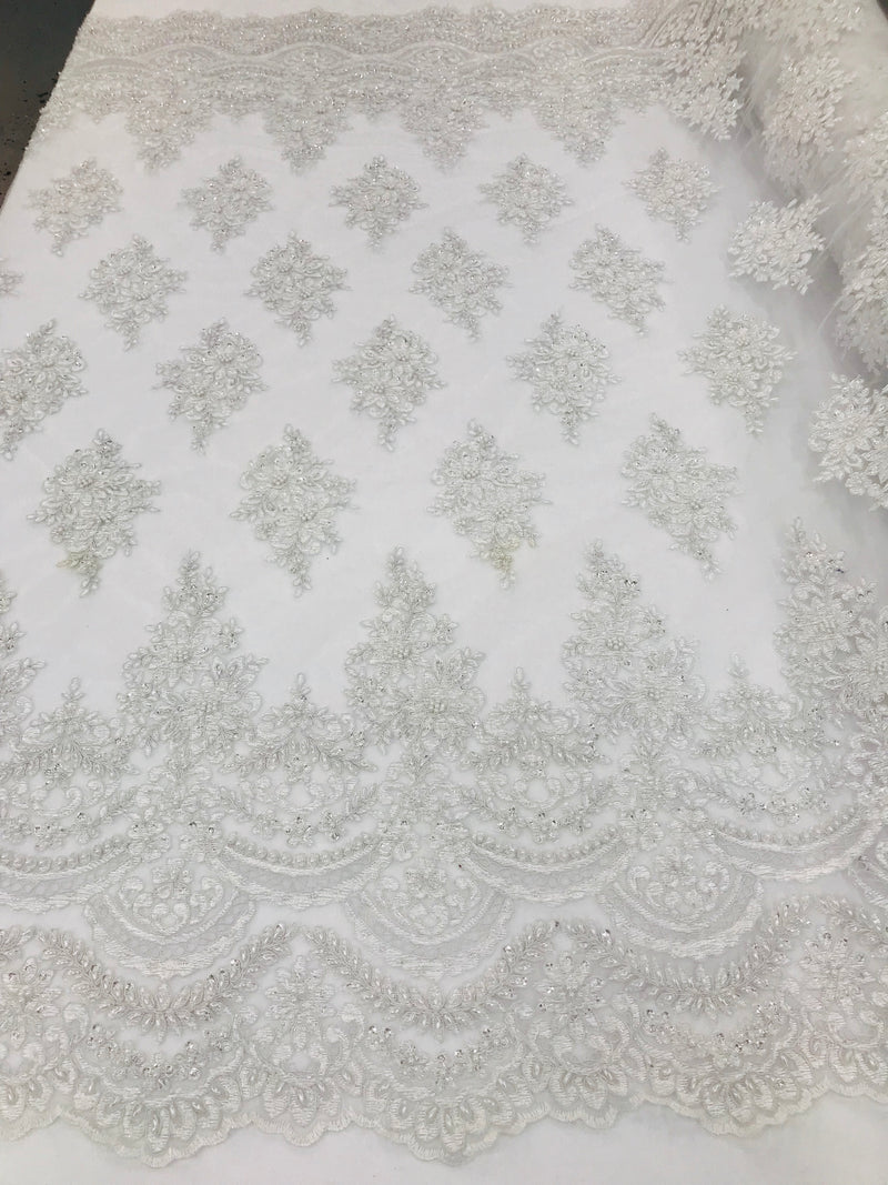 White - Hand Beaded Embroidered Flower Pattern Bridal Wedding Lace Fabric Sold by The Yard