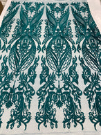 4 Way Stretch Fabric - Teal - Fancy Damask Pattern Sequins Design Fashion Fabric