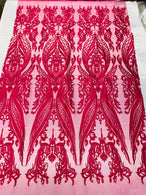 4 Way Stretch Fabric - Fuschia - Fancy Damask Pattern Sequins Design Fashion Fabric